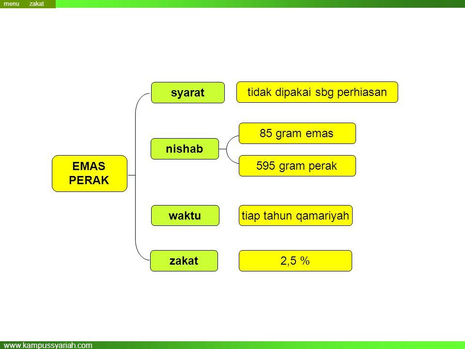 www.kampussyariah.com nishab zakat EMAS PERAK 595 gram perak 2,5 % waktutiap tahun qamariyah tidak dipakai sbg perhiasan syarat 85 gram emas menu zaka