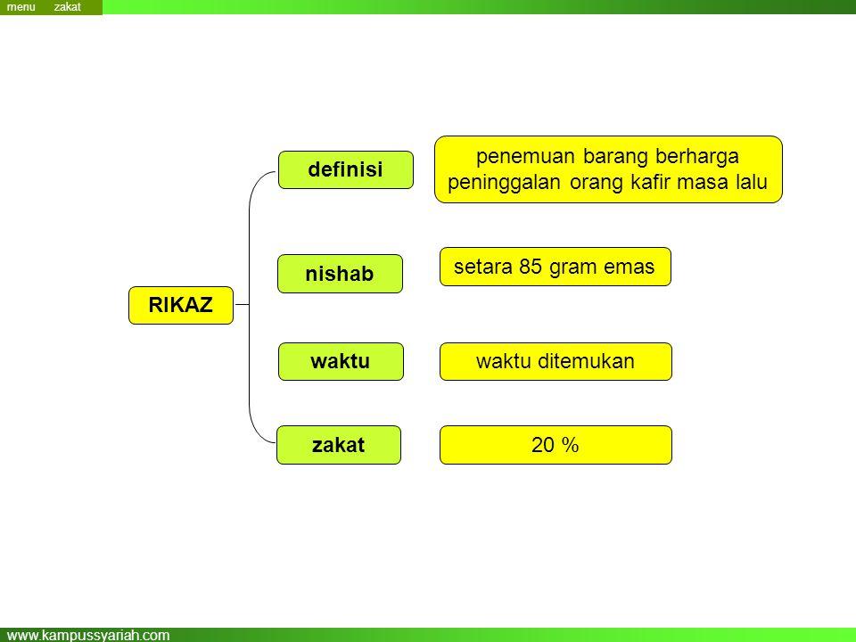 www.kampussyariah.com nishab zakat RIKAZ 20 % waktuwaktu ditemukan penemuan barang berharga peninggalan orang kafir masa lalu definisi setara 85 gram