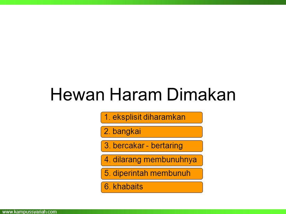 www.kampussyariah.com Hewan Haram Dimakan 1. eksplisit diharamkan 2. bangkai 3. bercakar - bertaring 4. dilarang membunuhnya 5. diperintah membunuh 6.
