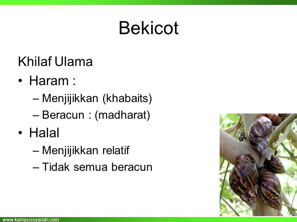www.kampussyariah.com Bekicot Khilaf Ulama •Haram : –Menjijikkan (khabaits) –Beracun : (madharat) •Halal –Menjijikkan relatif –Tidak semua beracun