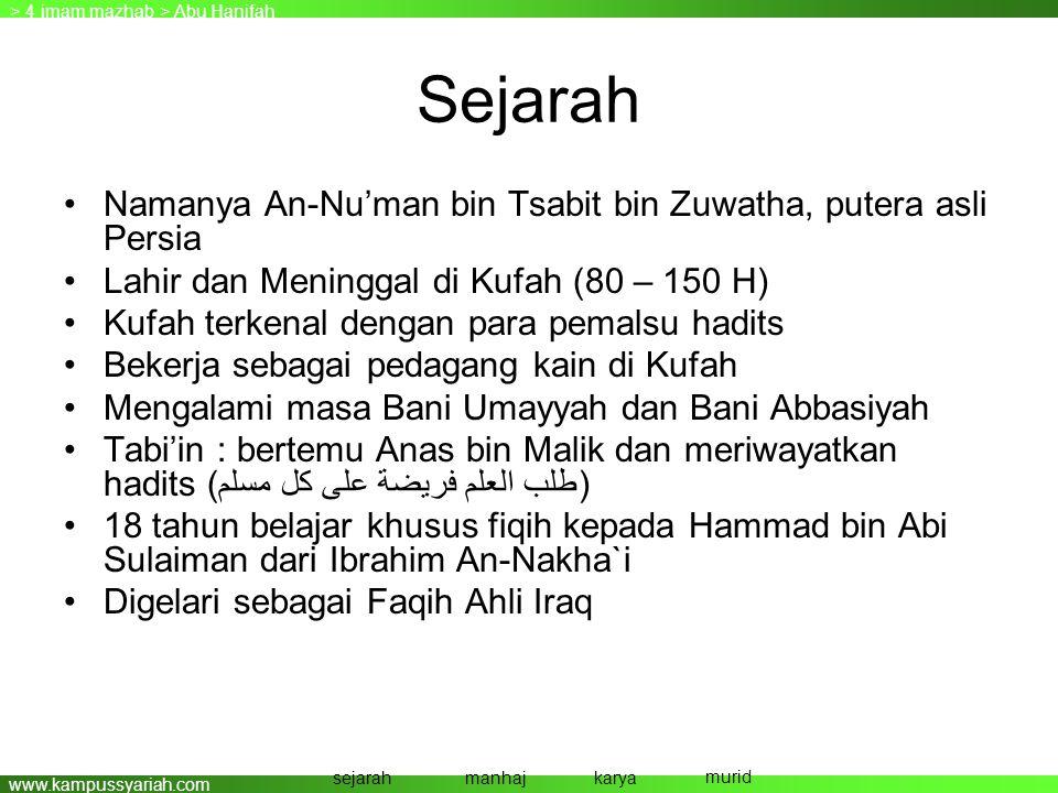 www.kampussyariah.com Sejarah •Namanya An-Nu'man bin Tsabit bin Zuwatha, putera asli Persia •Lahir dan Meninggal di Kufah (80 – 150 H) •Kufah terkenal
