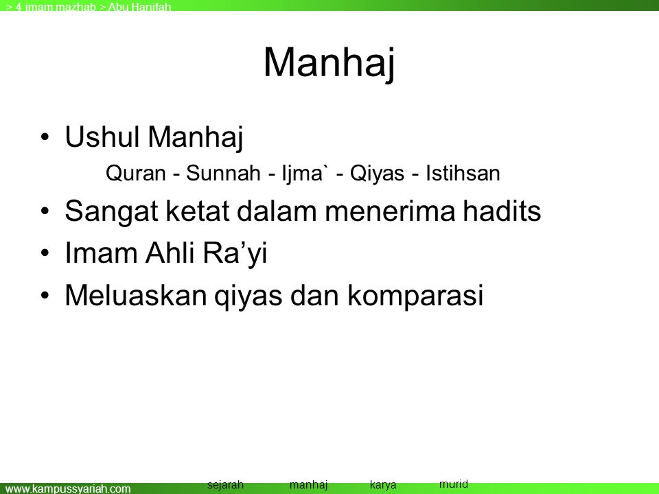 www.kampussyariah.com Manhaj •Ushul Manhaj Quran - Sunnah - Ijma` - Qiyas - Istihsan •Sangat ketat dalam menerima hadits •Imam Ahli Ra'yi •Meluaskan q