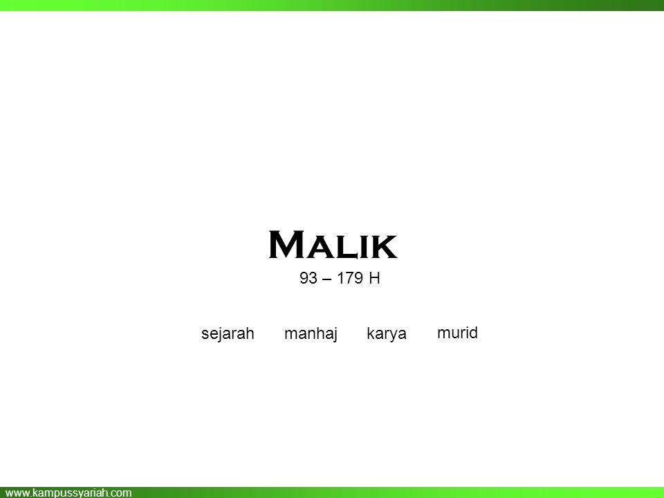 www.kampussyariah.com Malik 93 – 179 H sejarahmanhajkarya murid
