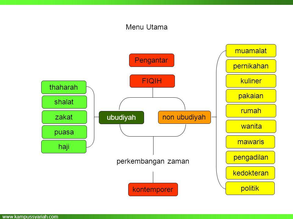 www.kampussyariah.com Menu Utama thaharah shalat zakat puasa haji muamalat pernikahan kuliner pakaian rumah wanita mawaris FIQIH non ubudiyah pengadil