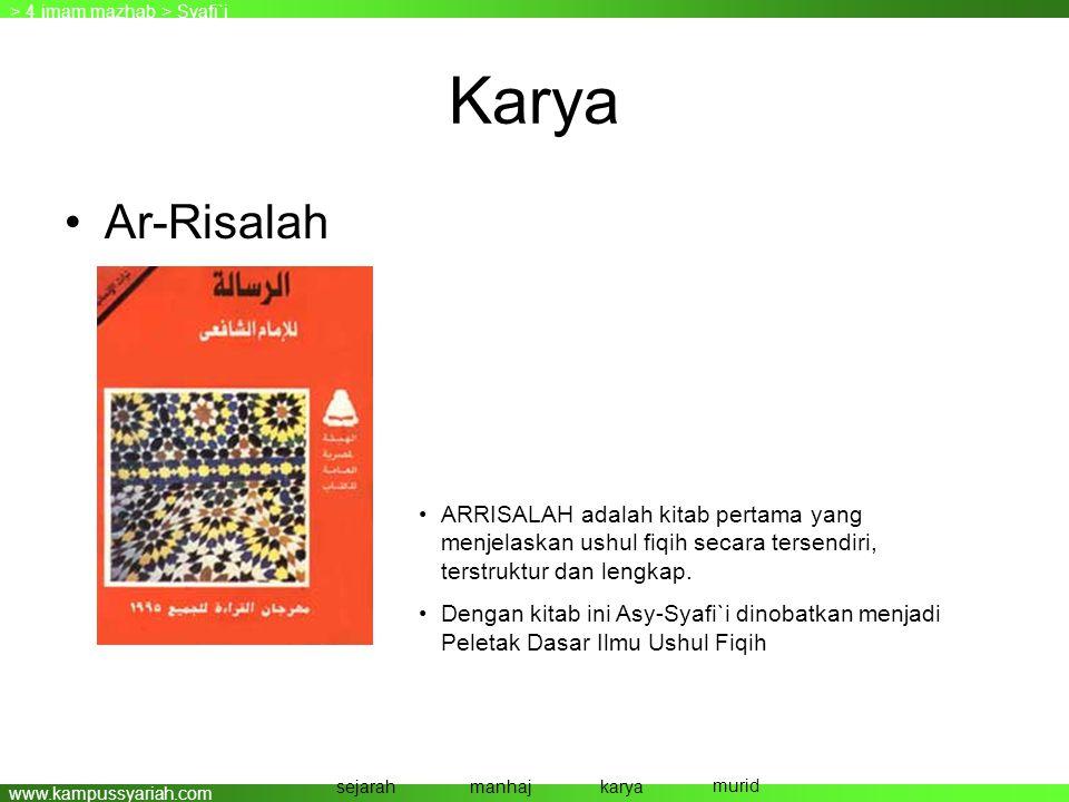 www.kampussyariah.com Karya •Ar-Risalah > 4 imam mazhab > Syafi`i sejarahmanhajkarya murid •ARRISALAH adalah kitab pertama yang menjelaskan ushul fiqi