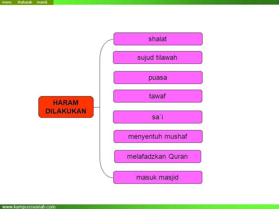 www.kampussyariah.com shalat sujud tilawah puasa tawaf sa`i menyentuh mushaf melafadzkan Quran HARAM DILAKUKAN masuk masjid menu mandi thaharah
