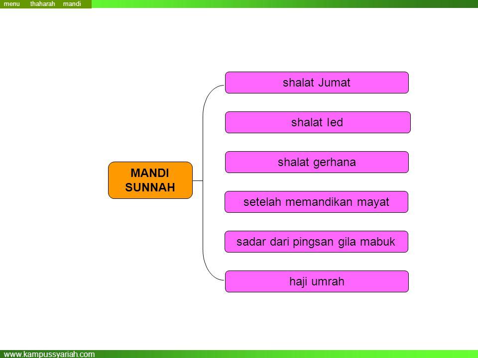 www.kampussyariah.com shalat Jumat shalat Ied shalat gerhana setelah memandikan mayat sadar dari pingsan gila mabuk haji umrah MANDI SUNNAH menu mandi