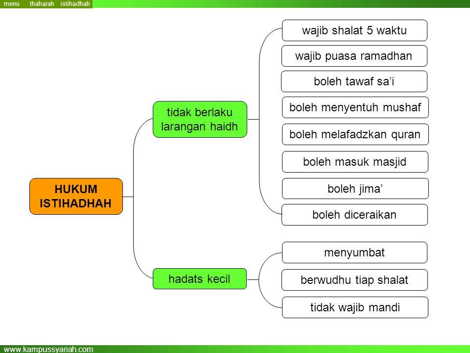 www.kampussyariah.com wajib shalat 5 waktu wajib puasa ramadhan berwudhu tiap shalat menyumbat HUKUM ISTIHADHAH tidak wajib mandi boleh tawaf sa'i bol
