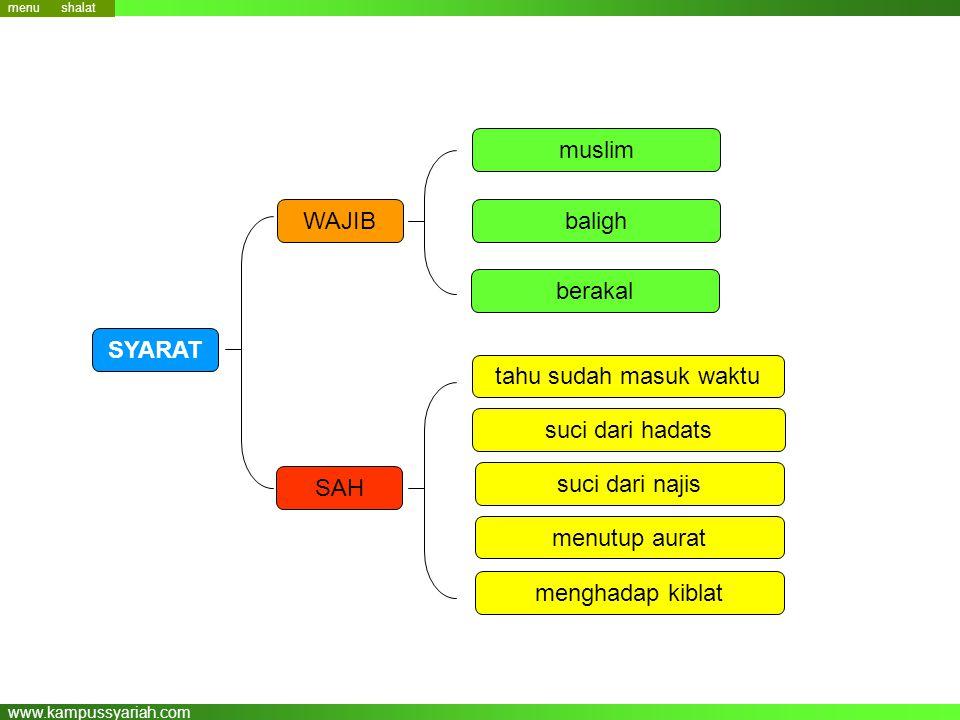 www.kampussyariah.com muslim baligh berakal WAJIB SAH tahu sudah masuk waktu suci dari hadats suci dari najis menutup aurat menghadap kiblat menu SYAR