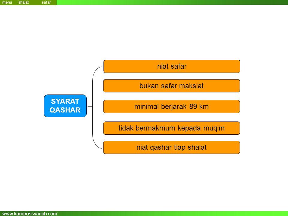www.kampussyariah.com niat safar SYARAT QASHAR bukan safar maksiat minimal berjarak 89 km tidak bermakmum kepada muqim niat qashar tiap shalat menu sa