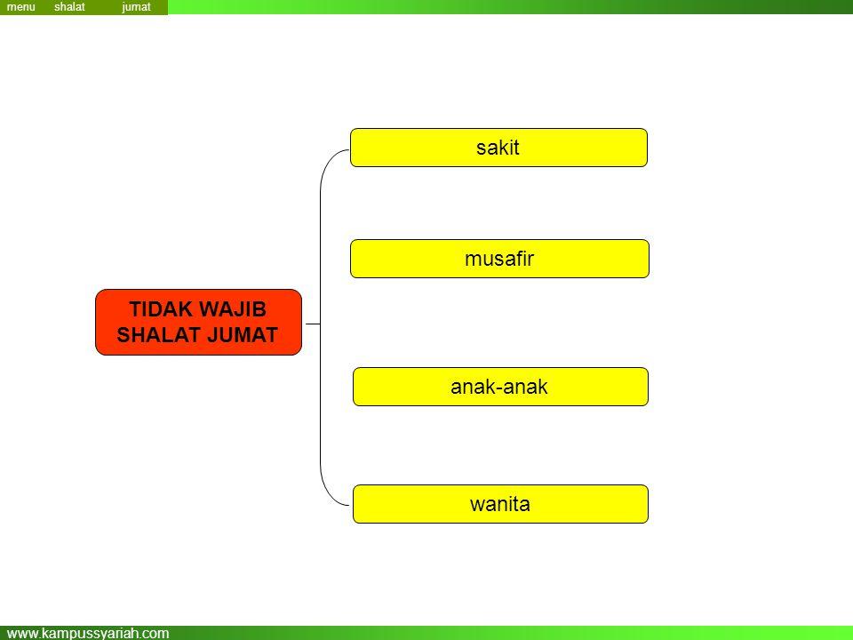 www.kampussyariah.com menu TIDAK WAJIB SHALAT JUMAT sakit musafir anak-anak wanita jumat shalat