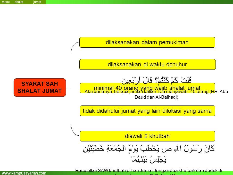 www.kampussyariah.com menu SYARAT SAH SHALAT JUMAT dilaksanakan dalam pemukiman dilaksanakan di waktu dzhuhur minimal 40 orang yang wajib shalat jumat