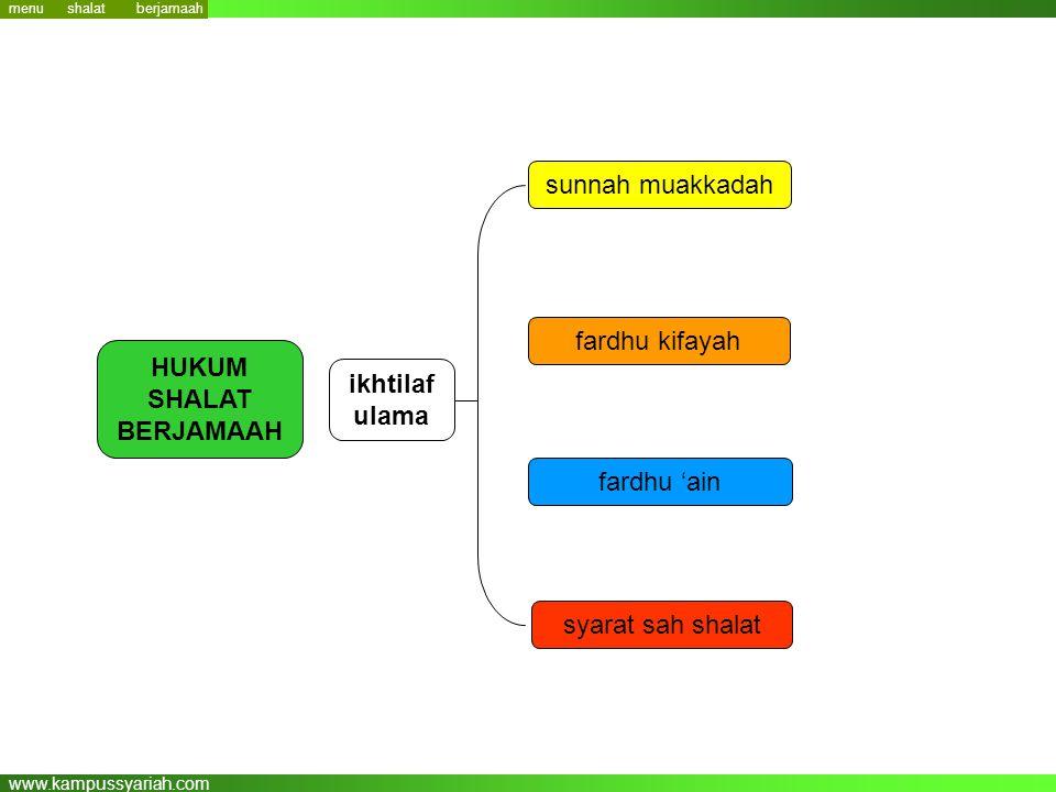www.kampussyariah.com menu HUKUM SHALAT BERJAMAAH sunnah muakkadah fardhu 'ain fardhu kifayah syarat sah shalat ikhtilaf ulama berjamaah shalat