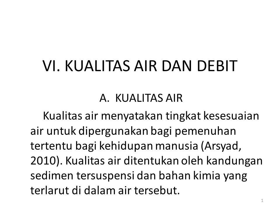 VI. KUALITAS AIR DAN DEBIT A.KUALITAS AIR Kualitas air menyatakan tingkat kesesuaian air untuk dipergunakan bagi pemenuhan tertentu bagi kehidupan man