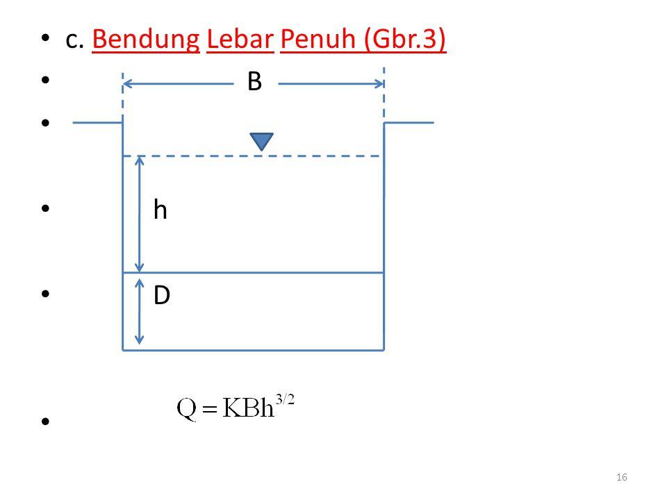 • c. Bendung Lebar Penuh (Gbr.3) • B • • h • D • 16