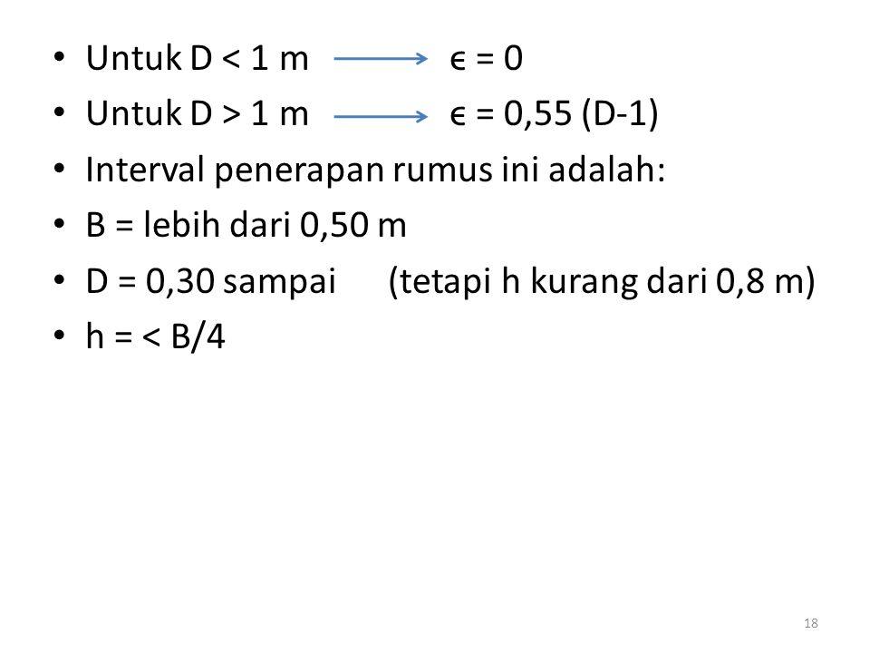 • Untuk D < 1 m ϵ = 0 • Untuk D > 1 m ϵ = 0,55 (D-1) • Interval penerapan rumus ini adalah: • B = lebih dari 0,50 m • D = 0,30 sampai (tetapi h kurang