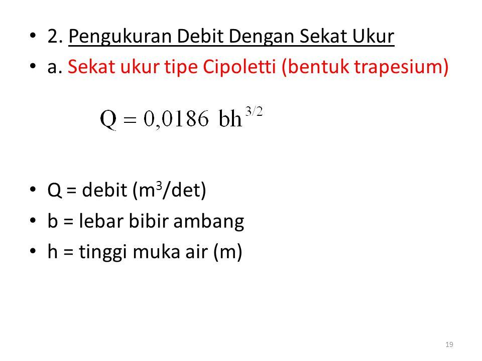 • 2. Pengukuran Debit Dengan Sekat Ukur • a. Sekat ukur tipe Cipoletti (bentuk trapesium) • Q = debit (m 3 /det) • b = lebar bibir ambang • h = tinggi