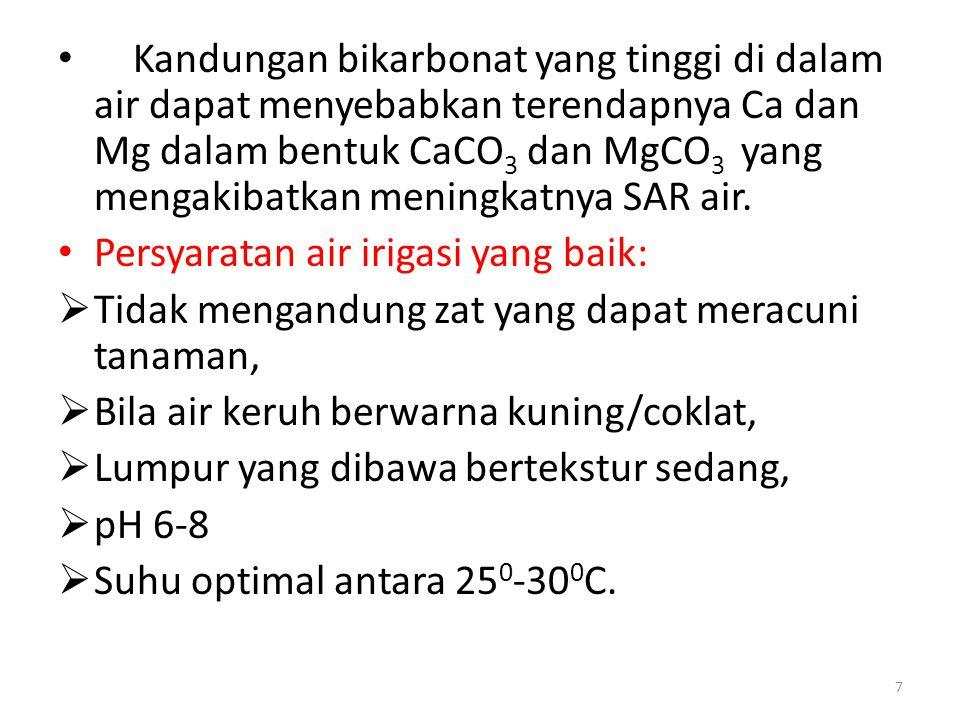 • Kandungan bikarbonat yang tinggi di dalam air dapat menyebabkan terendapnya Ca dan Mg dalam bentuk CaCO 3 dan MgCO 3 yang mengakibatkan meningkatnya