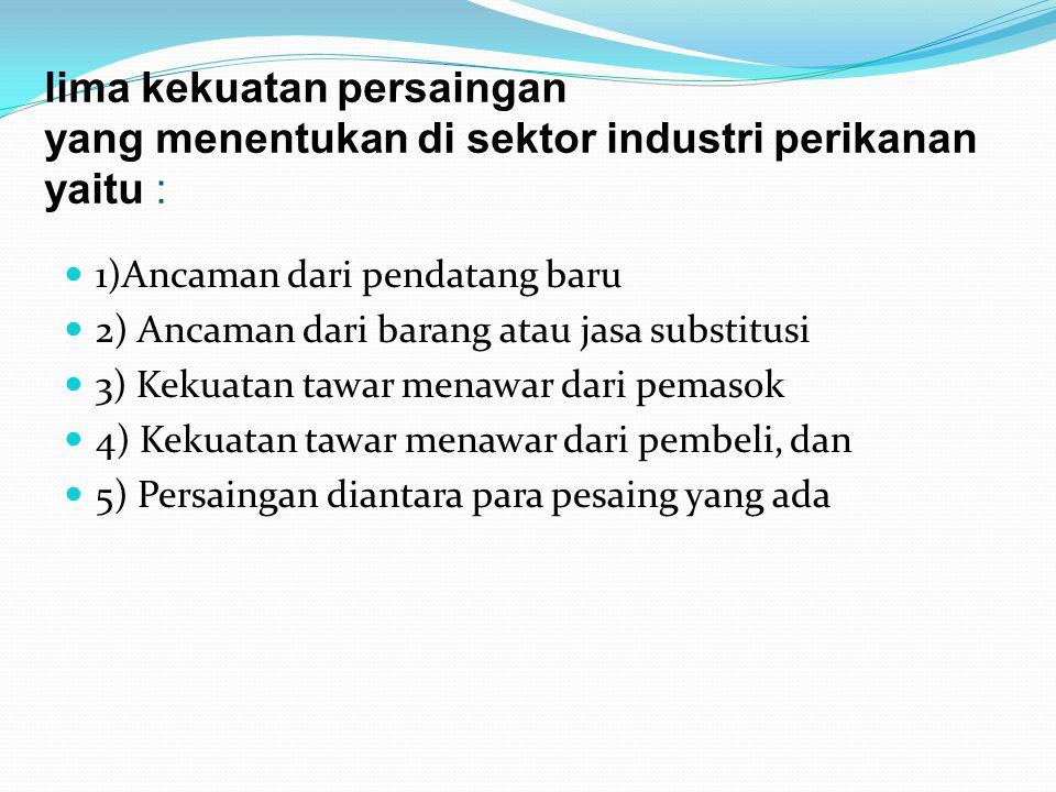 lima kekuatan persaingan yang menentukan di sektor industri perikanan yaitu :  1)Ancaman dari pendatang baru  2) Ancaman dari barang atau jasa subst