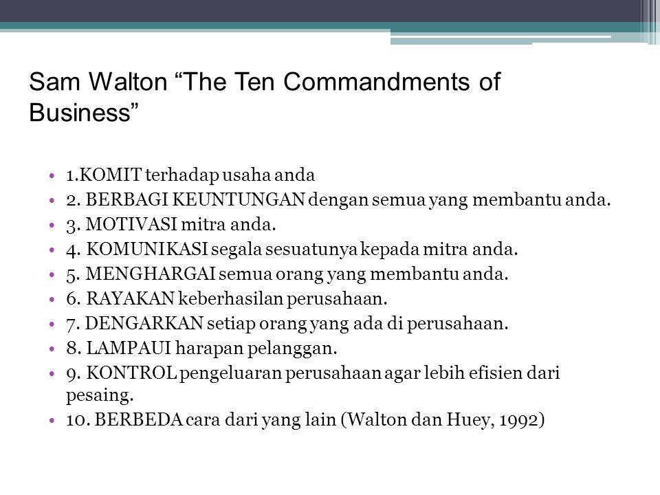 """Sam Walton """"The Ten Commandments of Business"""" •1.KOMIT terhadap usaha anda •2. BERBAGI KEUNTUNGAN dengan semua yang membantu anda. •3. MOTIVASI mitra"""
