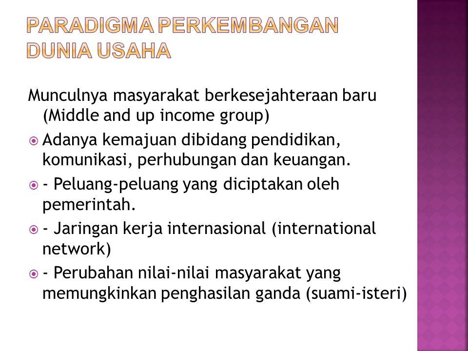Munculnya masyarakat berkesejahteraan baru (Middle and up income group)  Adanya kemajuan dibidang pendidikan, komunikasi, perhubungan dan keuangan. 