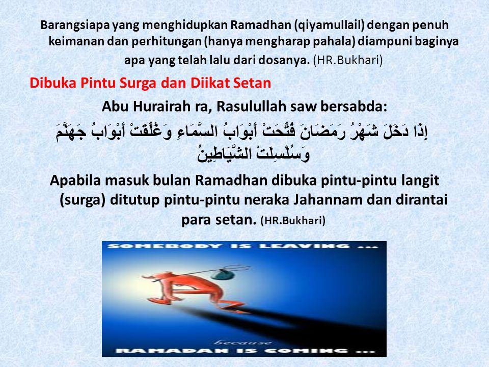 Barangsiapa yang menghidupkan Ramadhan (qiyamullail) dengan penuh keimanan dan perhitungan (hanya mengharap pahala) diampuni baginya apa yang telah lalu dari dosanya.