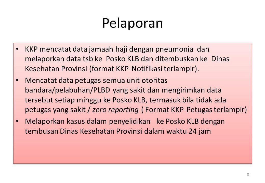 Pelaporan • KKP mencatat data jamaah haji dengan pneumonia dan melaporkan data tsb ke Posko KLB dan ditembuskan ke Dinas Kesehatan Provinsi (format KK