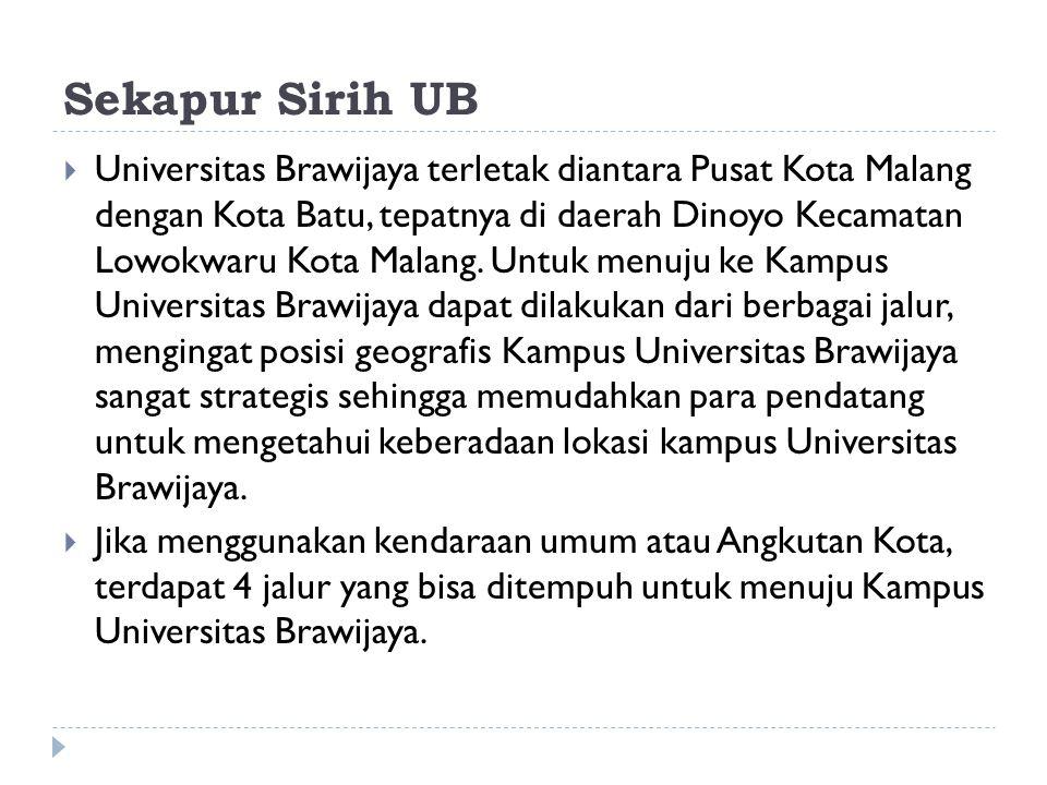 Sekapur Sirih UB  Universitas Brawijaya terletak diantara Pusat Kota Malang dengan Kota Batu, tepatnya di daerah Dinoyo Kecamatan Lowokwaru Kota Mala