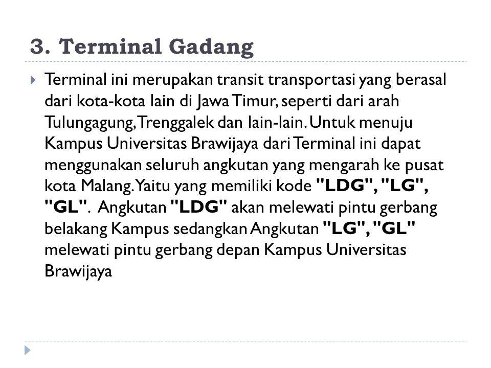 3. Terminal Gadang  Terminal ini merupakan transit transportasi yang berasal dari kota-kota lain di Jawa Timur, seperti dari arah Tulungagung, Trengg