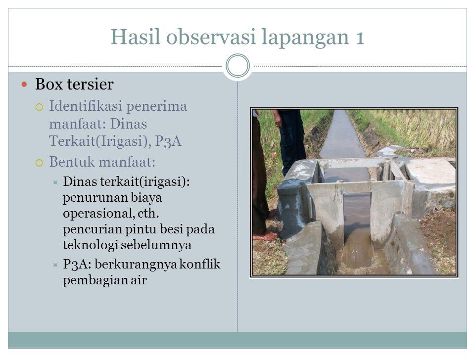 Hasil observasi lapangan 2  Lining saluran air  Identifikasi penerima manfaat: Dinas Terkait(Irigasi), P3A  Bentuk manfaat:  Dinas terkait (irigasi): Peningkatan debit air/penurunan kebocoran (rembesan)  P3A: Peningkatan debit air/penurunan kebocoran (rembesan)