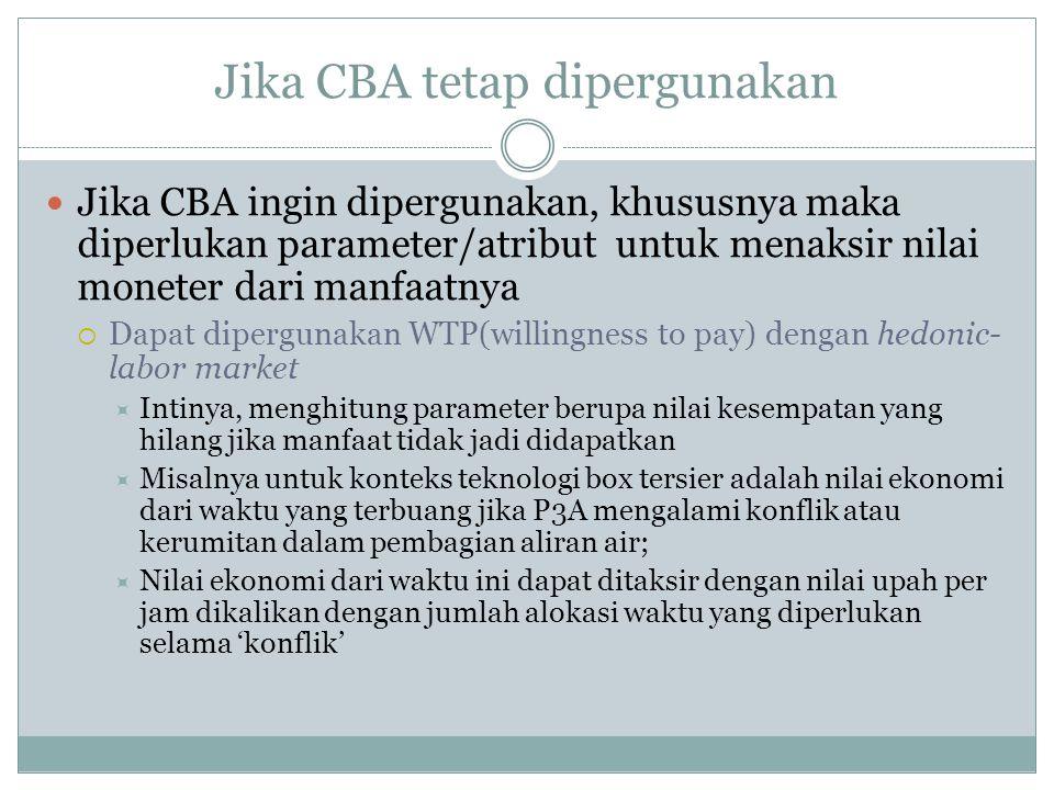 Jika CBA tetap dipergunakan  Jika CBA ingin dipergunakan, khususnya maka diperlukan parameter/atribut untuk menaksir nilai moneter dari manfaatnya 
