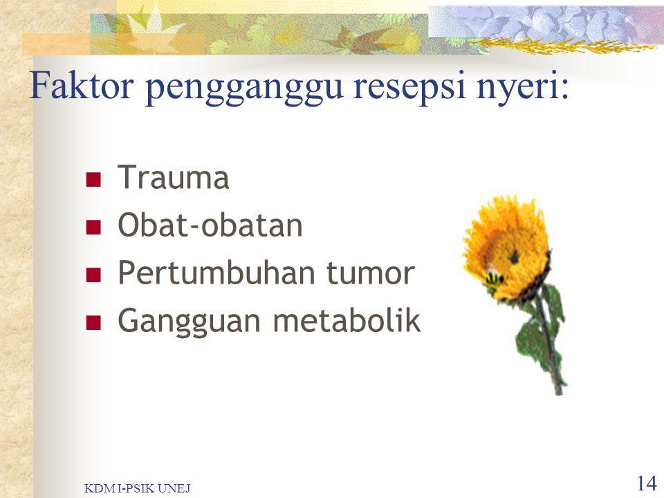 KDM I-PSIK UNEJ 13 Masih lanjutan…….. Kornu dorsalis medula spinalis Neurotransmiter (substansi P) Pusat syaraf di otak Respon reflek protektif