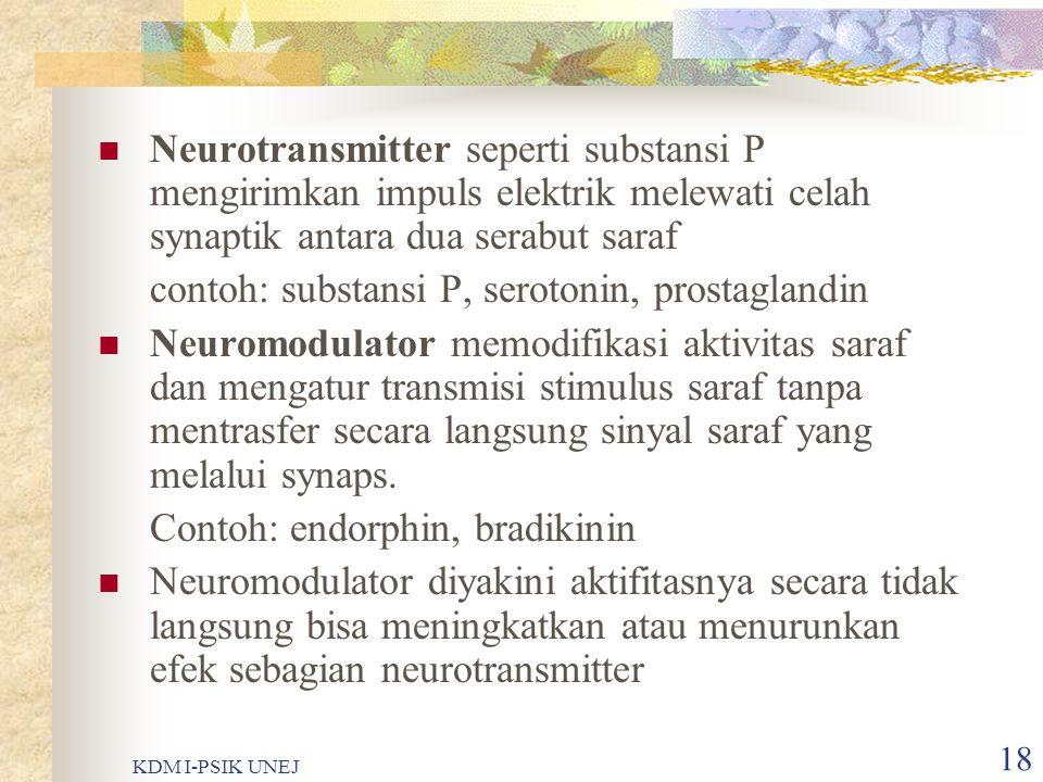 KDM I-PSIK UNEJ 17 Neuroregulator  Substansi yang memberikan efek pada transmisi stimulus saraf, berperan penting pada pengalaman nyeri  Substansi ini ditemukan pada nocicepetor yaitu pada akhir saraf dalam dorsal horn pada spinal cord dan pada tempat reseptor dalam saluran spinotalamik  Neuroregulator ada dua macam yaitu neurotransmitter dan neuromodulator