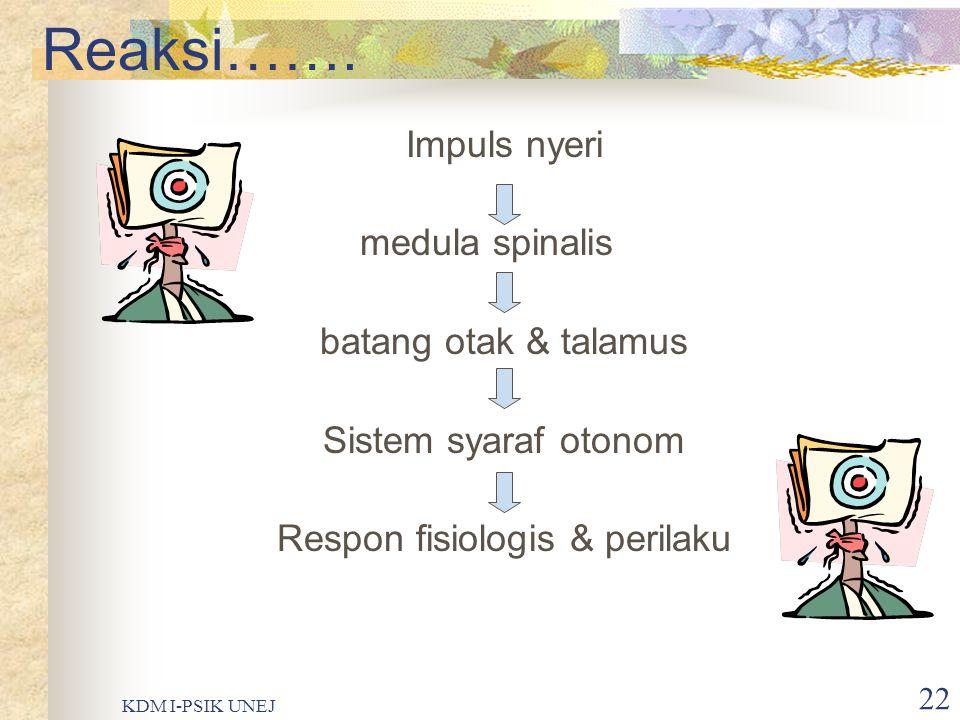 KDM I-PSIK UNEJ 21 Persepsi……. Stimulus nyeri Medula spinalis Talamus Otak (area limbik) Reaksi emosi Pusat otak Persepsi