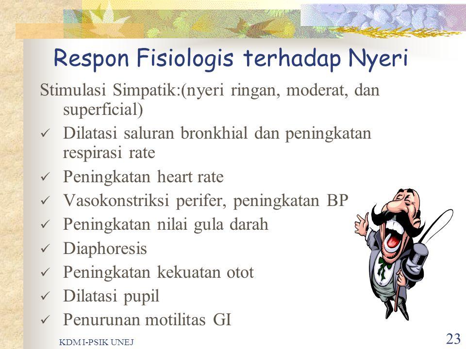 KDM I-PSIK UNEJ 22 Reaksi……. Impuls nyeri medula spinalis batang otak & talamus Sistem syaraf otonom Respon fisiologis & perilaku