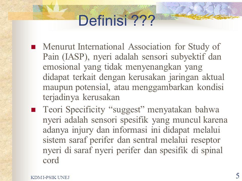 KDM I-PSIK UNEJ 4 Lanjutan……..  Nyeri merupakan tanda penting terhadap adanya gangguan fisiologis  Nyeri bersifat subyektif  Nyeri sangat menggangg