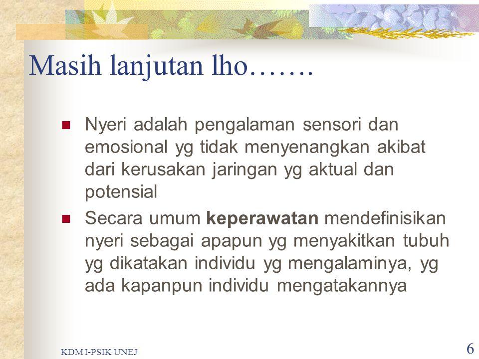 KDM I-PSIK UNEJ 5 Definisi ???  Menurut International Association for Study of Pain (IASP), nyeri adalah sensori subyektif dan emosional yang tidak m