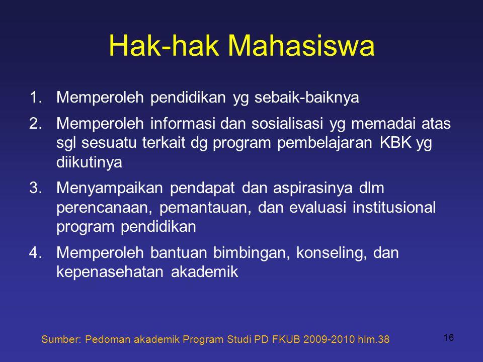 Hak-hak Mahasiswa 1.Memperoleh pendidikan yg sebaik-baiknya 2.Memperoleh informasi dan sosialisasi yg memadai atas sgl sesuatu terkait dg program pemb