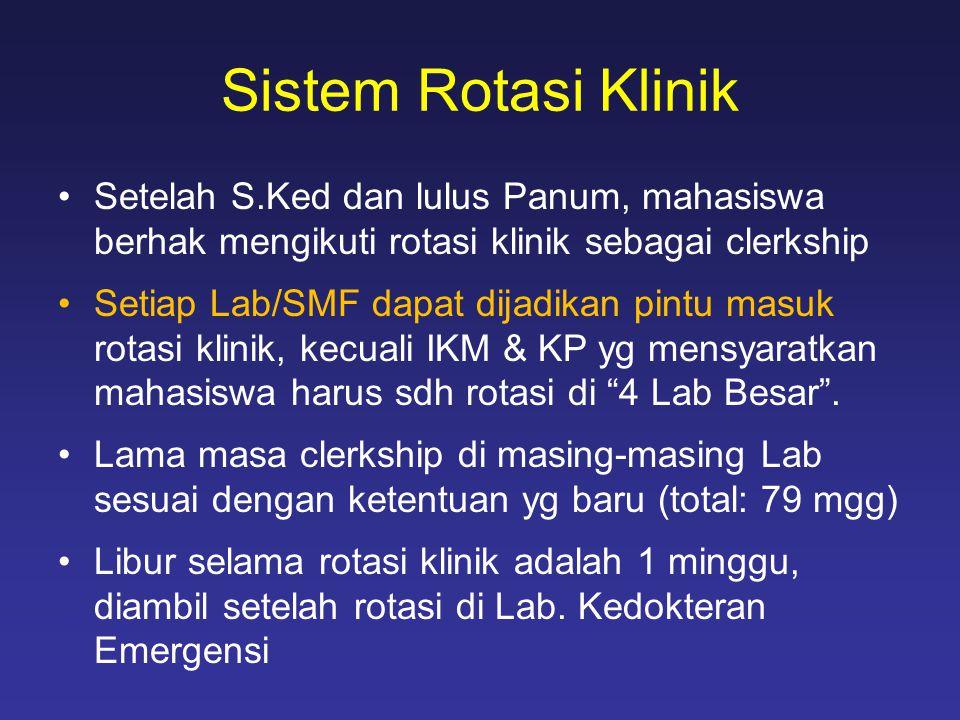 Sistem Rotasi Klinik •Setelah S.Ked dan lulus Panum, mahasiswa berhak mengikuti rotasi klinik sebagai clerkship •Setiap Lab/SMF dapat dijadikan pintu