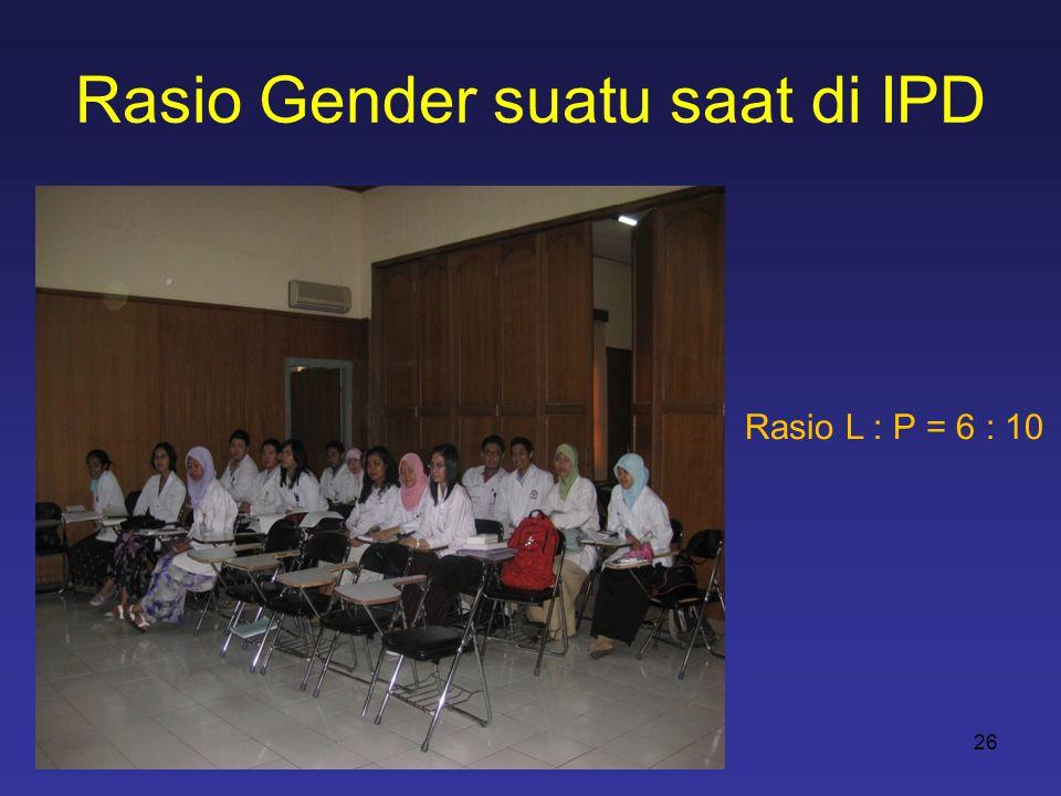 Rasio Gender suatu saat di IPD 26 Rasio L : P = 6 : 10