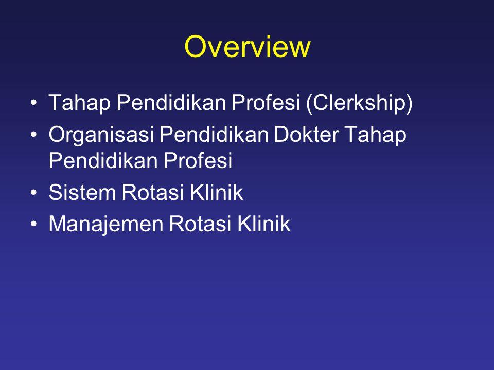 Overview •Tahap Pendidikan Profesi (Clerkship) •Organisasi Pendidikan Dokter Tahap Pendidikan Profesi •Sistem Rotasi Klinik •Manajemen Rotasi Klinik