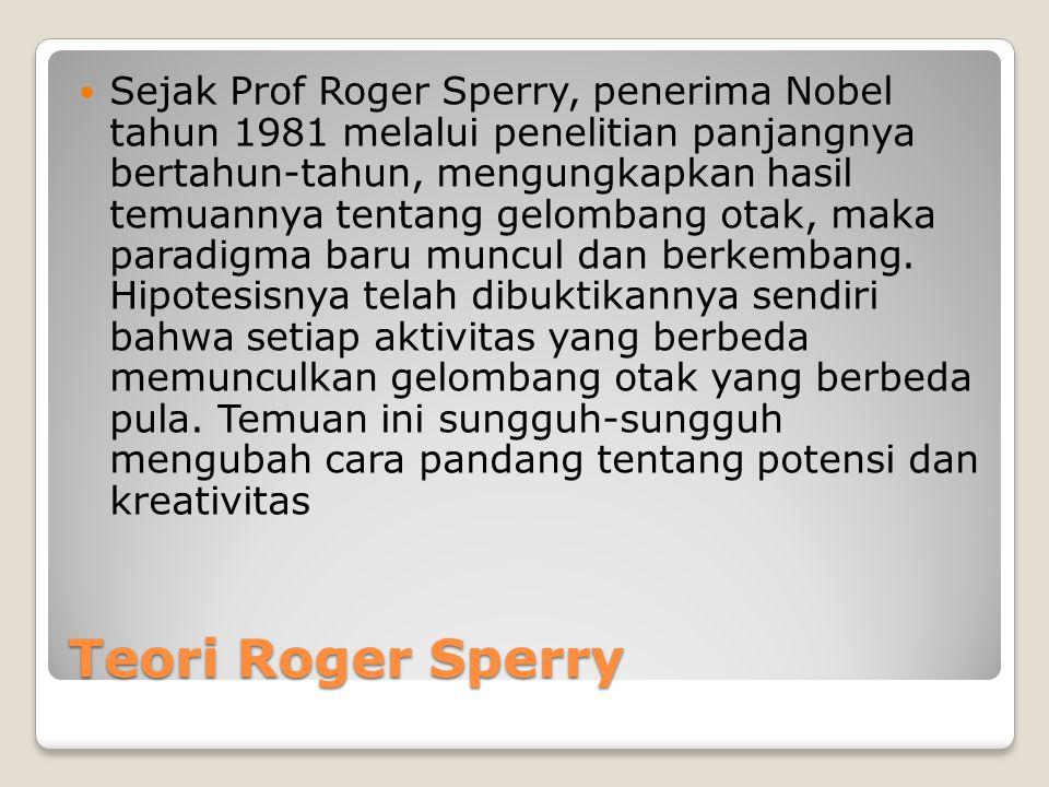 Teori Roger Sperry  Sejak Prof Roger Sperry, penerima Nobel tahun 1981 melalui penelitian panjangnya bertahun-tahun, mengungkapkan hasil temuannya tentang gelombang otak, maka paradigma baru muncul dan berkembang.