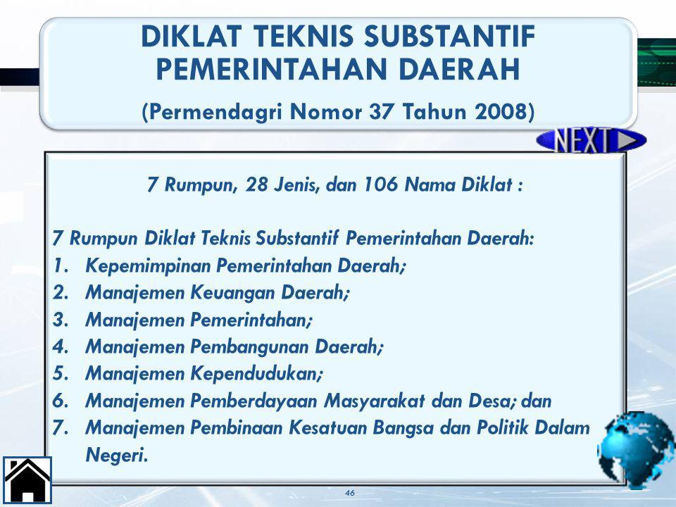 46 DIKLAT TEKNIS SUBSTANTIF PEMERINTAHAN DAERAH (Permendagri Nomor 37 Tahun 2008) 7 Rumpun, 28 Jenis, dan 106 Nama Diklat : 7 Rumpun Diklat Teknis Sub