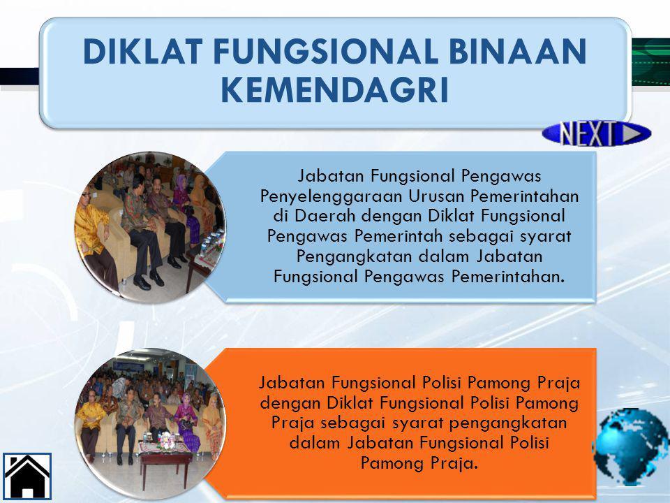 47 DIKLAT FUNGSIONAL BINAAN KEMENDAGRI Jabatan Fungsional Pengawas Penyelenggaraan Urusan Pemerintahan di Daerah dengan Diklat Fungsional Pengawas Pem