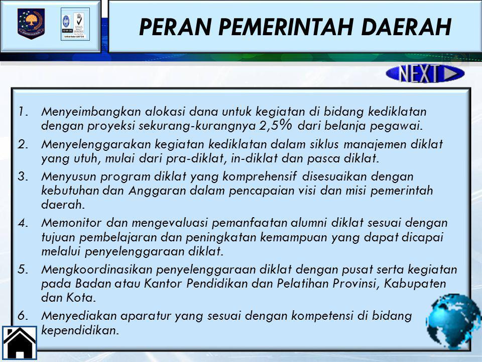 PERAN PEMERINTAH DAERAH 48 1.Menyeimbangkan alokasi dana untuk kegiatan di bidang kediklatan dengan proyeksi sekurang-kurangnya 2,5% dari belanja pega