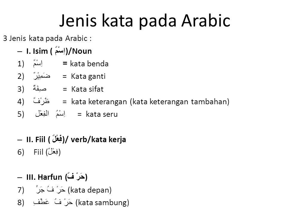 Jenis kata pada Arabic 3 Jenis kata pada Arabic : – I. Isim ( اِسْمٌ )/Noun 1) اِسْمٌ = kata benda 2) ضَمِيْرٌ = Kata ganti 3) صِفَةٌ = Kata sifat 4)