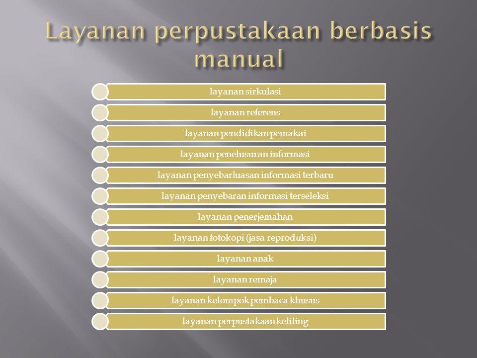 layanan sirkulasi layanan referens layanan pendidikan pemakai layanan penelusuran informasi layanan penyebarluasan informasi terbaru layanan penyebara