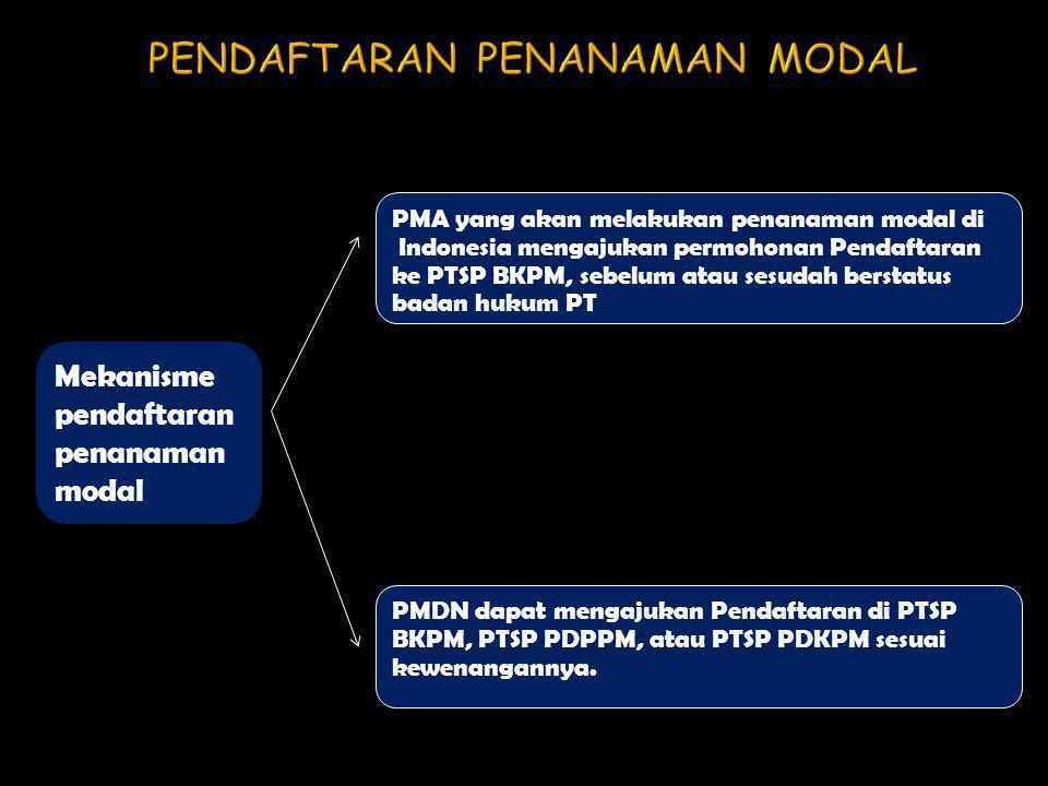 Mekanisme pendaftaran penanaman modal PMA yang akan melakukan penanaman modal di Indonesia mengajukan permohonan Pendaftaran ke PTSP BKPM, sebelum ata