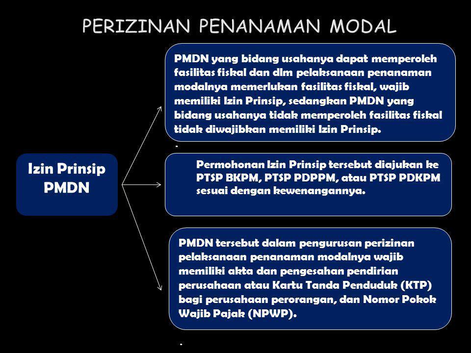Izin Prinsip PMDN PMDN yang bidang usahanya dapat memperoleh fasilitas fiskal dan dlm pelaksanaan penanaman modalnya memerlukan fasilitas fiskal, waji