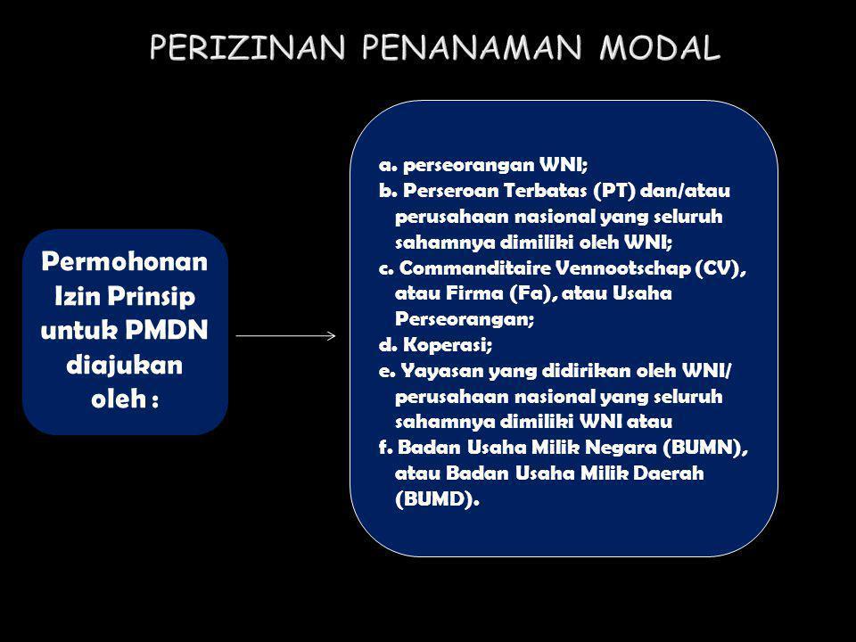 Permohonan Izin Prinsip untuk PMDN diajukan oleh : a. perseorangan WNI; b. Perseroan Terbatas (PT) dan/atau perusahaan nasional yang seluruh sahamnya